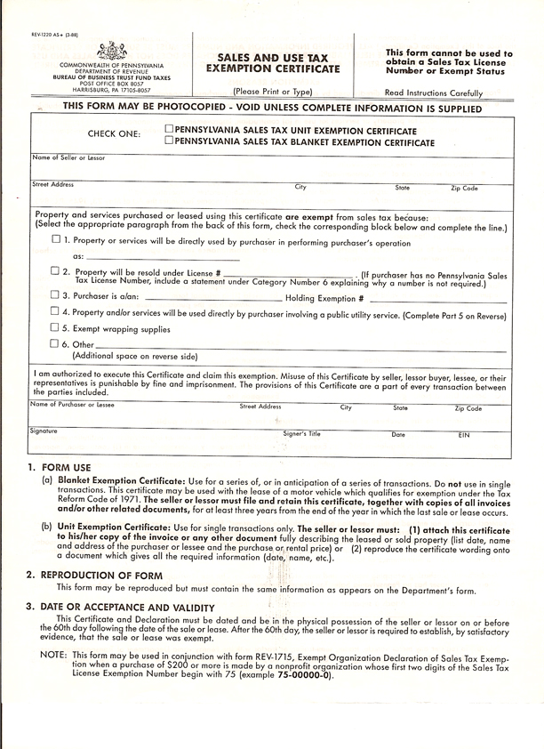 Tax Exemption Form   Sales Tax Exemption Certificates